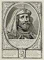 Portret van Willem I, graaf van Holland, met een met veren en parels verfraaide hoofddeksel. De omlijsting is versierd met het wapen van Holland. NL-HlmNHA 1477 53012909.JPG