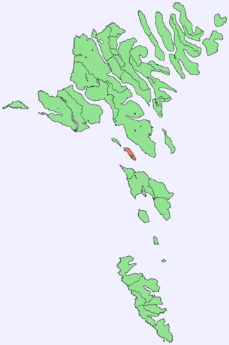 Hestur - Image: Position of Hestur on Faroe map