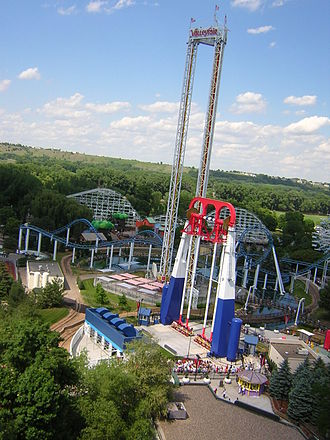 Valleyfair - Power Tower, Xtreme Swing, and Corkscrew from Wild Thing