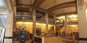 Kansas City Power and Light Building - Power and Light lobby under renovation during its transformation into an residential apartment building.