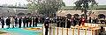 Pranab Mukherjee paying homage at the Samadhi of Mahatma Gandhi on the occasion of Martyr's Day, at Rajghat,. The Vice President, Shri M. Hamid Ansari, the Prime Minister, Shri Narendra Modi, the Union Minister for Defence.jpg