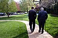 President Barack Obama and Sen. Ted Kennedy walk down the South Lawn sidewalk at the White House April 21, 2009.jpg