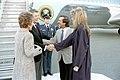 President Ronald Reagan and Nancy Reagan shaking hands with Sonny Bono and Mary Bono.jpg