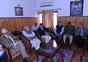 2014 India–Pakistan floods - Prime Minister Narendra Modi and Jammu and Kashmir Chief Minister Omar Abdullah at a high level meeting, on 7 September 2014, to assess the situation arising out of incessant rain and floods in the state.
