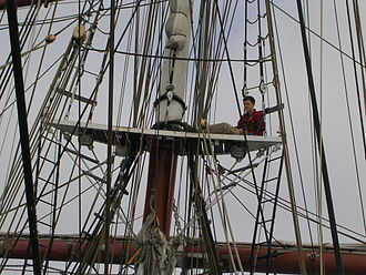 Top (sailing ship) - The foretop of the Prince William. Note the futtock shrouds (white-painted rods angling inwards) and jacob's ladders; extending upwards are the topmast shrouds with their rope ratlines.