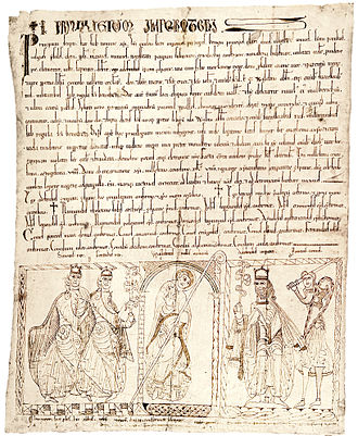 Imperator totius Hispaniae - A Privilegium Imperatoris (Imperial Privilege), as it reads at the top, issued by the Emperor Alfonso VII of León and Castile granting land to a certain Abbot William (bottom, centre) for the foundation of a Benedictine monastery. Behind Alfonso (right) is his majordomo, Count Ponce Giraldo de Cabrera, bearing a sword and shield. At bottom left are Alfonso's sons Sancho and Fernando.
