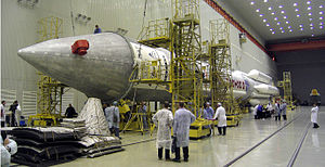 Proton-M - Proton-M in assembly building awaiting for rollout