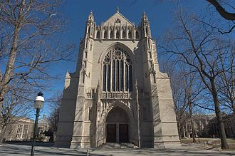 Princeton University Chapel - The exterior, seen from the west.