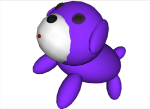 Zmodeler - Model of a Purple Puppy, created and rendered with ZModeler 1.07.