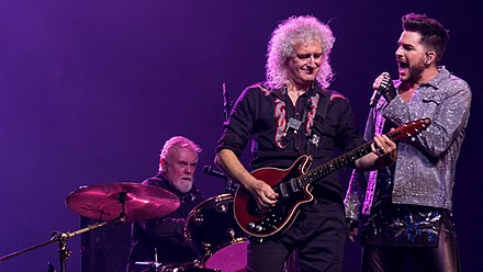 Queen + Adam Lambert performing at the O2 Arena in December 2017 Queen And Adam Lambert - The O2 - Tuesday 12th December 2017 QueenO2121217-45 (39066611155).jpg