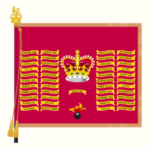 Battle honours of the British and Imperial Armies - Queen's Colour of the 1st Battalion, the Grenadier Guards. In contrast with those of the line infantry regiments, the Queen's Colours of Foot Guards regiments are crimson, and it is their Regimental Colours that are based on the Union Flag. Foot Guards regiments also emblazon the same honours (from all conflicts, including both World Wars) on both colours.