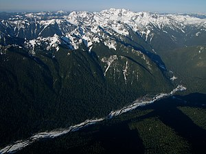 Queets River - A portion of the upper course of the Queets River.
