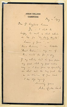 Quiller-couch letter to Sassoon