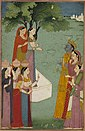 Rāma, Sīta and Lakṣmaṇa beside a village well.jpg