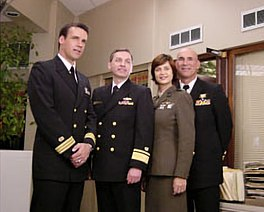 RADM Donald Guter, JAGC, USN visited the JAG television series set, 2001-02-20