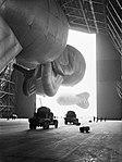 RAF kite balloons are walked out of No. 1 Airship Shed at Cardington for handling practice by No. 1 Balloon Training Unit, October 1940. CH1515.jpg