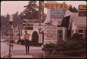 Lake George, New York - A row of motels in Lake George, 1973