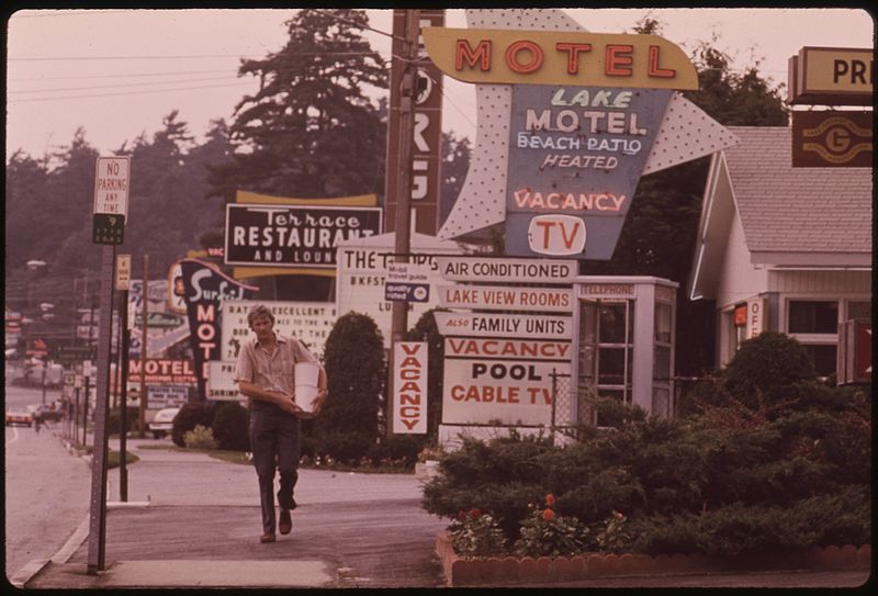 File:ROW OF MOTELS AT LAKE GEORGE VILLAGE, NEW YORK, AND PLETHORA OF SIGNS CREATES A NON-RUSTIC SCENE IN THE ADIRONDACK... - NARA - 554550.jpg
