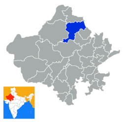 Location of Churu district in Rajasthan