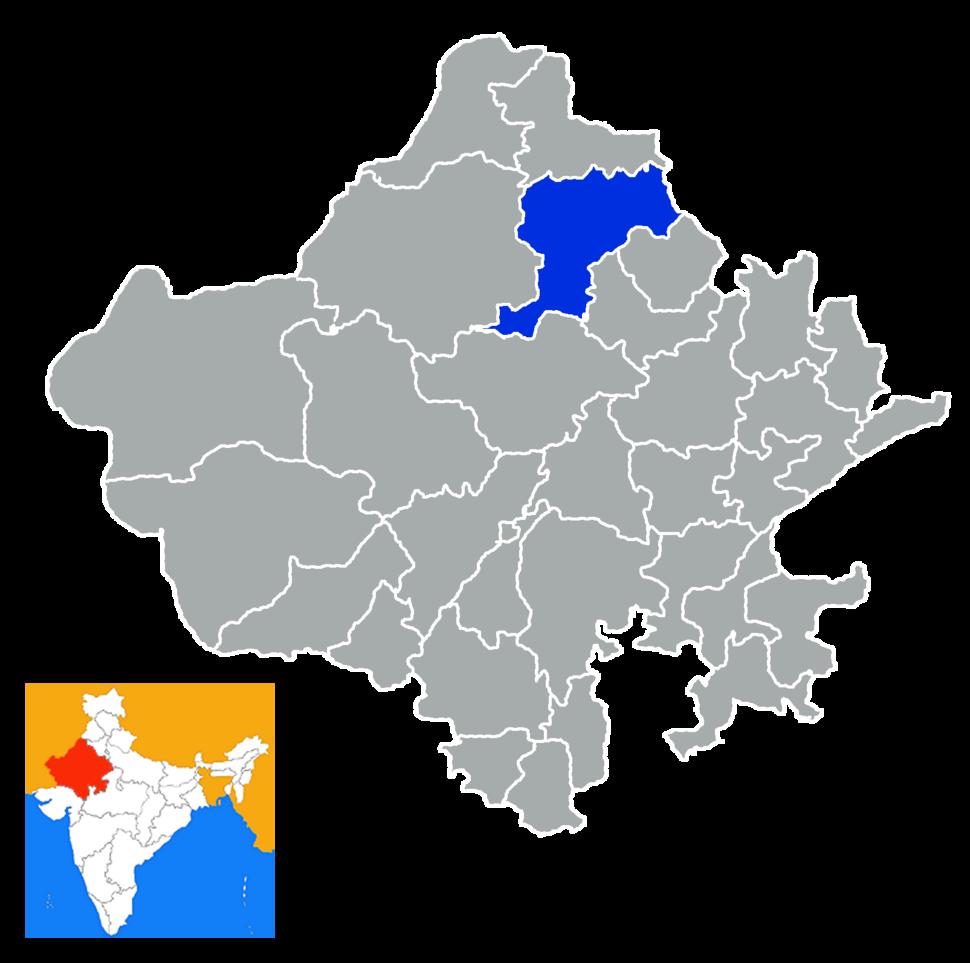Location of Churu district in Rajasthan