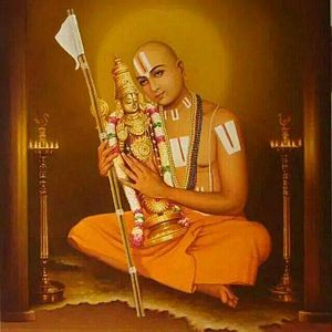 Sri Vaishnavism - Ramanujacharya embracing an icon of Lord Varadaraj (Vishnu)