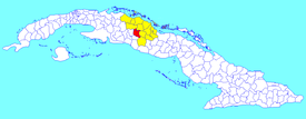 Ranchuelo municipality (red) within  Villa Clara Province (yellow) and Cuba