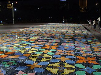 Sandpainting - Rangoli, a popular form of Indian Sand Paintings, in Singapore.