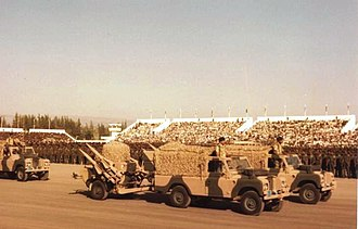 Sultan of Oman's Armed Forces - Anti-aircraft missiles of the Oman Artillery (Land Rovers towing Rapier missile wheeled launchers)