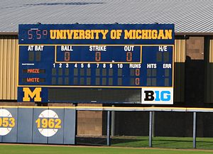 Ray Fisher Stadium - Image: Ray Fisher Stadium scoreboard University of Michigan Ann Arbor
