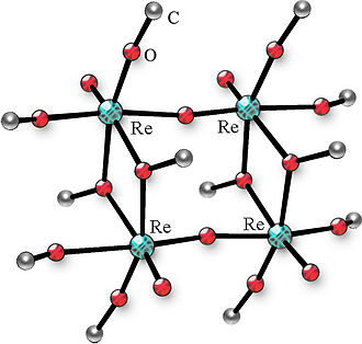 Alkoxide - The structure of tetranuclear rhenium oxomethoxide (hydrogen atoms omitted for the sake of simplicity).
