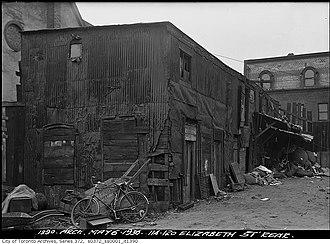 Slum - A slum dwelling in Toronto, Ontario, Canada, about 1936.