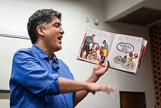 Sherman Alexie - Alexie reading at the launch of the RED INK International Journal of Indigenous Literature, Art, and Humanities, at Arizona State University in 2016