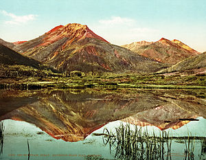 Red Mountain Pass (San Juan Mountains) - Red Mountains from Ironton Park; Red Mountain Pass near the Ouray-Silverton Stage Road, c. 1901