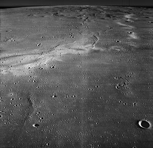 Reiner Gamma - Oblique view from Lunar Orbiter 2, with the Marius Hills in the background.