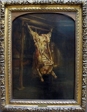 "Animal slaughter - ""Slaughtered Ox"" by Rembrandt, 1655"