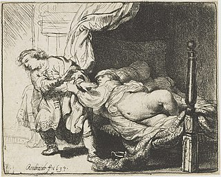 <i>Joseph and Potiphars Wife</i> (etching) print by Rembrandt