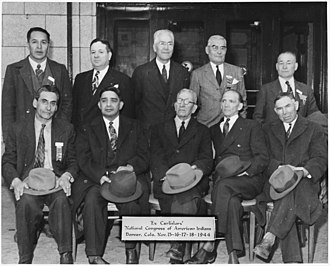 National Congress of American Indians - Representatives of various tribes attending organizational meeting, 1944; all were alumni of the Carlisle Indian School
