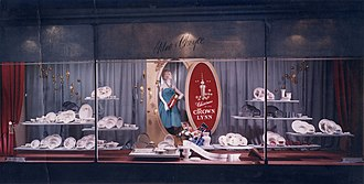 Crown Lynn - An image of a window display at Milne and Choyce of Crown Lynn ceramics.