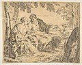 Rest on the flight into Egypt, Mary holding the infant Christ while St. Joseph points into the distance, copy after Cantarini MET DP815034.jpg