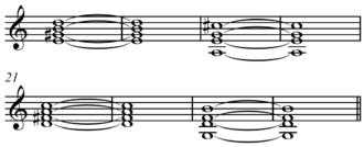 Section (music) - Image: Rhythm changes bridge in C