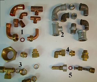 Piping and plumbing fitting - Pipe fittings: 1) Copper (solder); 2) Iron or brass (threaded); 3) Brass (compression); 4) Brass (compression to solder); 5) Brass adapters