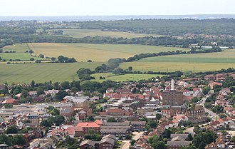 Rochford - Aerial photo over Rochford. The old hospital boilerhouse can be seen.