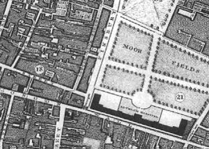 Moorfields - Map of London Wall, Moorgate, Moorfields and Bethlem Royal Hospital from John Rocque's Map of London, dated 1746.