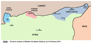 Turkish occupation of northern Syria - The proposed safe zone in Syria between Kobane (pink) and Afrin (light blue)