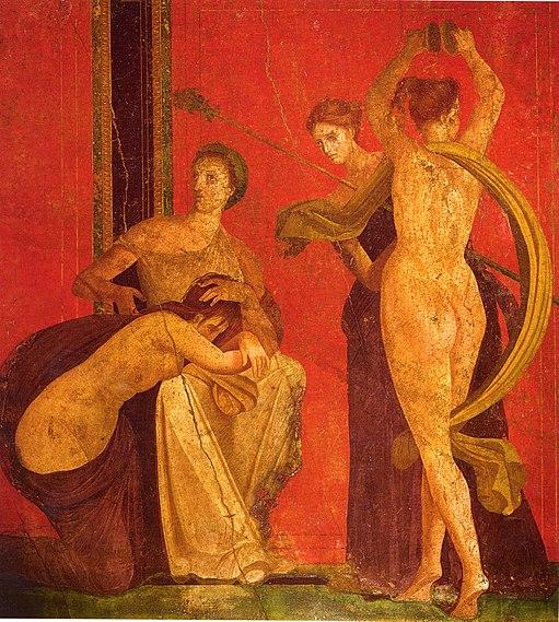 Roman fresco Villa dei Misteri Pompeii - detail with dancing menad 03