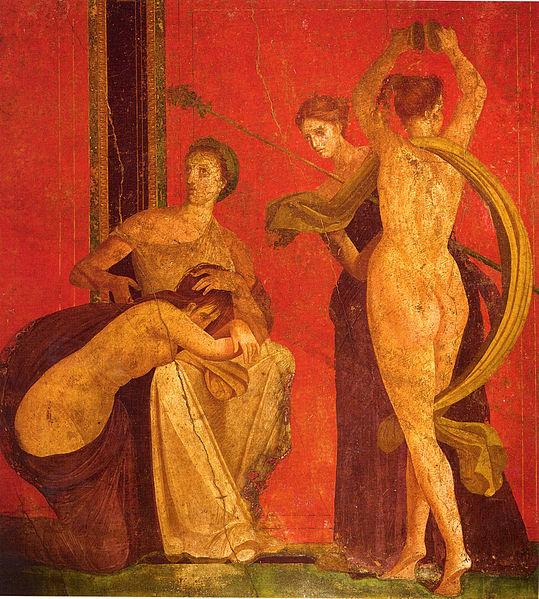 Fichier:Roman fresco Villa dei Misteri Pompeii - detail with dancing menad 03.jpg