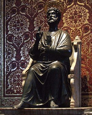 Catholicity - Ancient statue of Saint Peter in the Basilica dedicated to him in the Vatican.