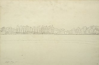 Rufford Abbey - Ink on paper drawing of Rufford Abbey, Samuel Hieronymus Grimm, 1773.