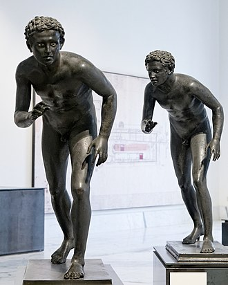 Running - Ancient Roman bronze sculptures of runners from the Villa of the Papyri at Herculaneum, now in the Naples National Archaeological Museum