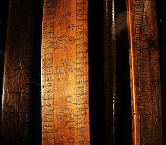Runic calendar - Rune staffs at the Museum of History in Lund, Sweden.